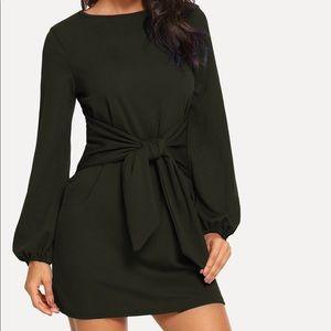 SHEIN Knot Waist Solid Dress